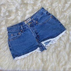 London Jean | Denim Shorts w/ Lace Sz 2